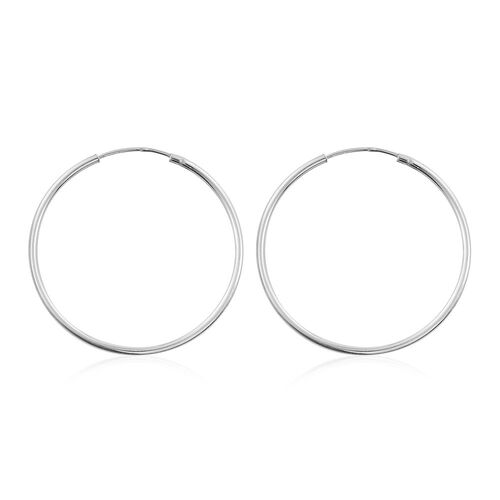 Set of 3 - Rose, Yellow Gold and Platinum Overlay Sterling Silver Hoop Earrings.