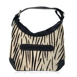 Genuine Leather Zebra Pattern Black and Cream Colour Handbag with External Zipper Pocket and Adjustable Shoulder Strap (Size 32x24x11 Cm)