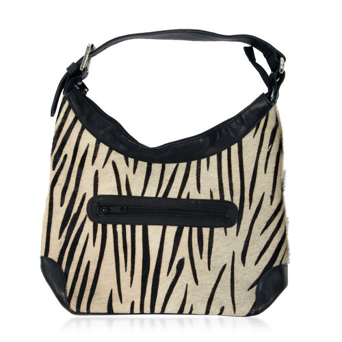 Genuine Leather Zebra Pattern Black and Cream Colour Handbag with External Zipper Pocket and Adjustable Shoulder Strap (Size 32x24x11 Cm)
