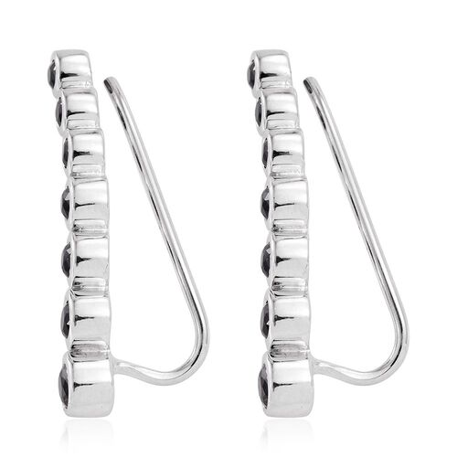 Black Spinel 1.25 Ct Silver Ear Climber Earrings in Platinum Overlay