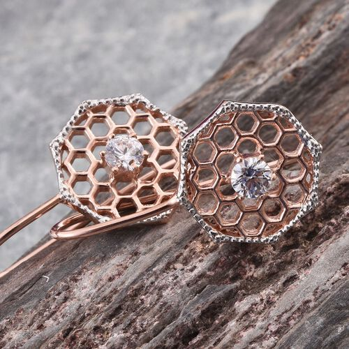 J Francis - Rose Gold Overlay Sterling Silver (Rnd) Hook Earrings Made with SWAROVSKI ZIRCONIA