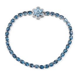 London Blue Topaz (Ovl), Electric Swiss Blue Topaz and Diamond Floral Bracelet in Platinum Overlay Sterling Silver (Size 8) 12.650 Ct.