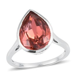 J Francis Crystal from Swarovski - Padparadscha Colour Crystal (Pear) Solitaire Ring in Platinum Overlay Sterling Silver