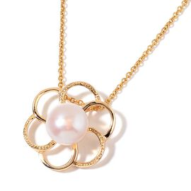 Fresh Water White Pearl Floral Pendant With Chain in Yellow Gold Tone