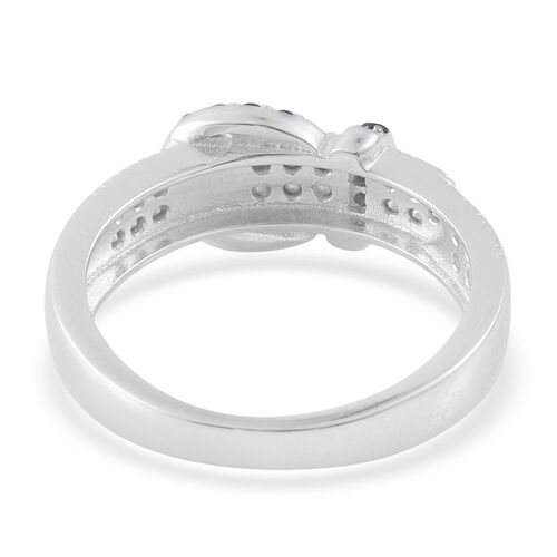 Boi Ploi Black Spinel (Rnd) Buckle Ring in Rhodium Plated Sterling Silver 1.200 Ct.