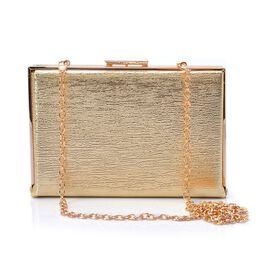 Golden Colour Satin Finish Clutch Bag with Removable Chain Strap (Size 18x12x2.5 Cm)