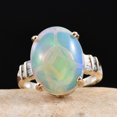 14K Y Gold Ethiopian Welo Opal (Ovl 7.05 Ct), Diamond Ring 7.250 Ct.