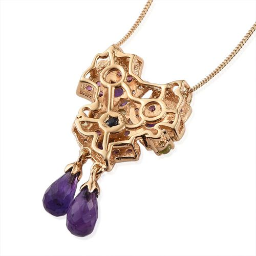 GP Amethyst, Hebei Peridot, Rhodolite Garnet, Natural Cambodian Zircon, Lusaka Amethyst and Kanchanaburi Blue Sapphire Pendant With Chain in 14K Gold Overlay Sterling Silver 4.250 Ct.