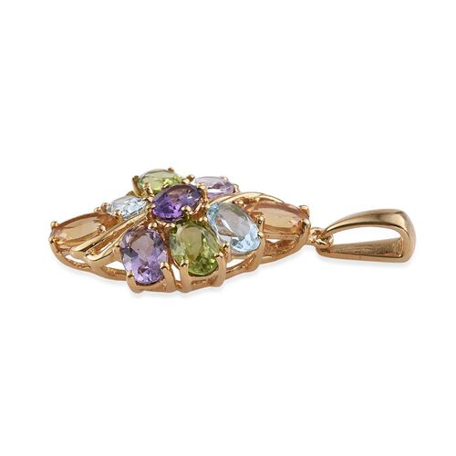 Sky Blue Topaz (Ovl), Hebei Peridot, Citrine, Rose De France Amethyst and Amethyst Pendant in 14K Gold Overlay Sterling Silver 4.000 Ct.