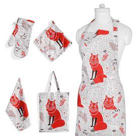 Kitchen Textiles - 100% Cotton Red, Brown and White Colour Fox Printed Apron (75x65 Cm), Glove (32x18 Cm), Pot Holder (20x20 Cm), Kitchen Towel (65x40) and Bag (45x35 Cm)