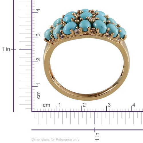 Arizona Sleeping Beauty Turquoise (Ovl), White Topaz Ring in 14K Gold Overlay Sterling Silver 2.700 Ct.