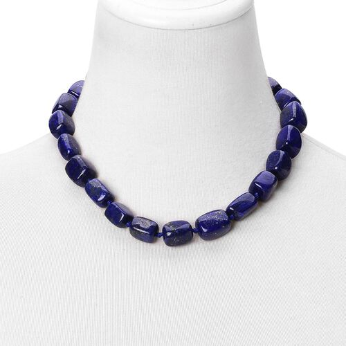 Lapis Lazuli Beads Necklace (Size 18) with Magnetic Clasp Lock in Rhodium Plated Sterling Silver 500.000 Ct.