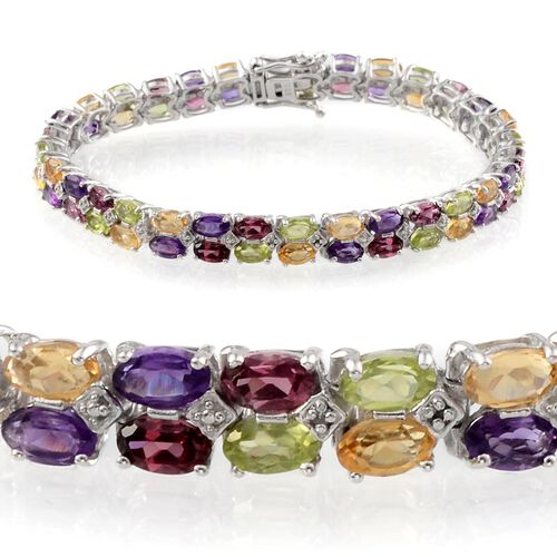 Hebei Peridot (Ovl), Rhodolite Garnet, Zambian Amethyst, Citrine and Diamond Bracelet in Platinum Overlay Sterling Silver (Size 7) 15.010 Ct.