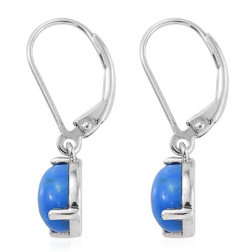 Ceruleite (Pear) Lever Back Earrings in Platinum Overlay Sterling Silver 2.000 Ct.