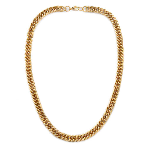 Yellow Gold Plated and Stainless Steel Curb Necklace (Size 19)