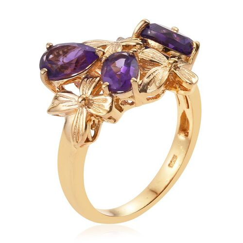 Natural Uruguay Amethyst (Hrt 1.65 Ct) Ring in 14K Gold Overlay Sterling Silver 3.500 Ct.