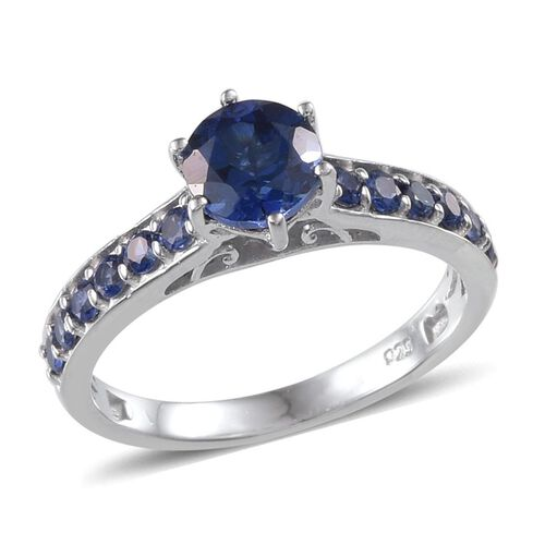 Simulated Blue Sapphire (Rnd) Ring in Platinum Overlay Sterling Silver