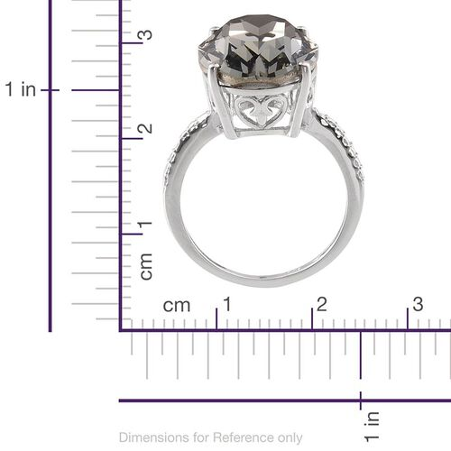 Crystal from Swarovski - Black Diamond Colour Crystal (Ovl) Ring in Platinum Overlay Sterling Silver 10.500 Ct.