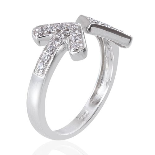 Simulated Diamond (Rnd) Arrow Ring in Platinum Overlay Sterling Silver