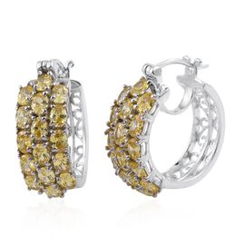 AAA Simulated Citrine (Ovl) Hoop Earrings (with Clasp) in ION Plated Platinum Bond