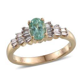 ILIANA 18K Y Gold Rare Mozambique Paraiba Tourmaline (Ovl 0.95 Ct), Diamond Ring 1.250 Ct.