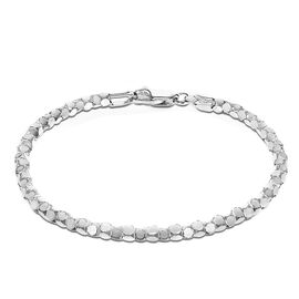 Close Out Deal Rhodium Plated Sterling Silver Round Mirror Bracelet (Size 8), Silver wt 5.50 Gms.