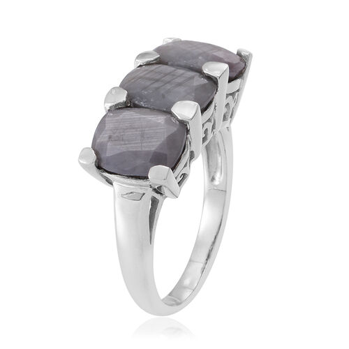 Natural Silver Sapphire (Cush) Trilogy Ring in Rhodium Plated Sterling Silver 10.000 Ct.