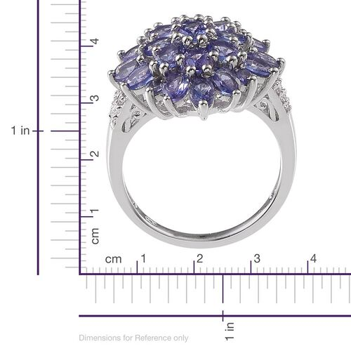 Tanzanite (Ovl), White Topaz Cluster Ring in Platinum Overlay Sterling Silver 4.250 Ct.