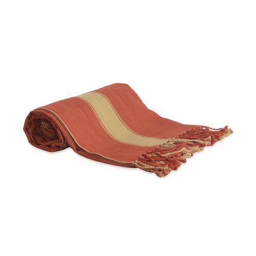 100% Cotton Red Colour Stripe Pattern Plaid with Fringes (Size 240x150 Cm)