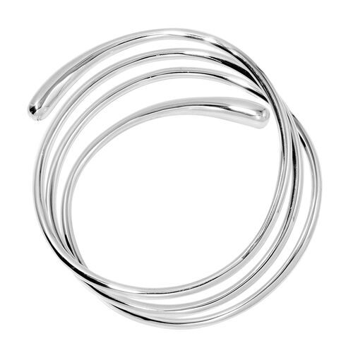 LucyQ Coil Drip Bangle (Size 7.5) in Rhodium Plated Sterling Silver 48.20 Gms.