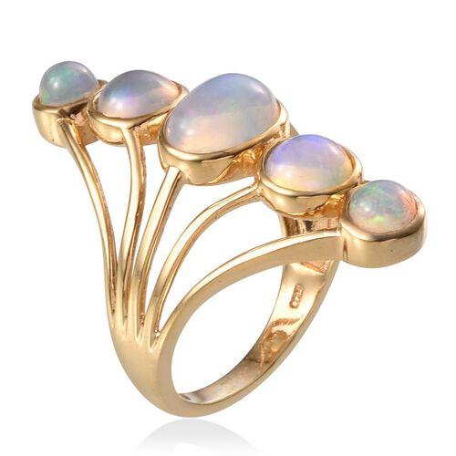 Ethiopian Welo Opal (Ovl 1.50 Ct) Ring in 14K Gold Overlay Sterling Silver 3.750 Ct.