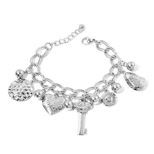One Time Deal-Stainless Steel Double Link Curb Bracelet (Size 8 with 2 inch Extender) with Multi Charms