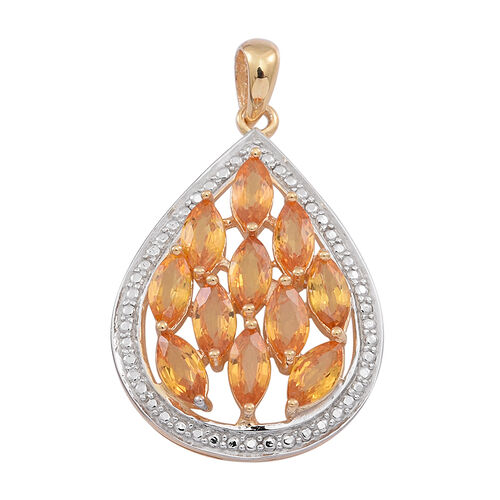 Yellow Sapphire (Mrq) Pendant in 14K Gold Overlay Sterling Silver 3.250 Ct.