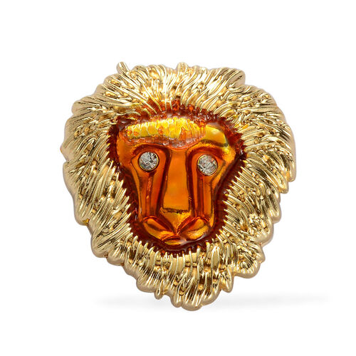 WebExclusive - White Austrian Crystal Lion Head Enamelled Brooch in Goldtone