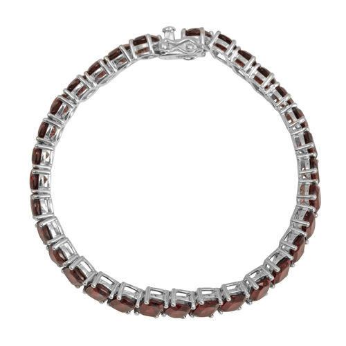 Mozambique Garnet (Cush) Tennis Bracelet (Size 7) in Rhodium Plated Sterling Silver 37.500 Ct.