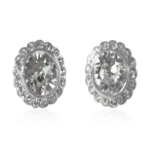 J Francis Crystal From Swarovski - White Crystal (Rnd) Stud Earrings (with Omega Clip) in Silver Bond