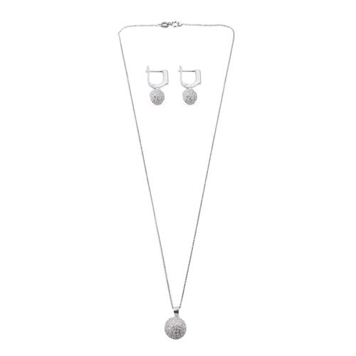 Close Out Deal ELANZA AAA Simulated Diamond (Rnd) Pendant With Chain and Hoop Earrings in Rhodium Plated Sterling Silver
