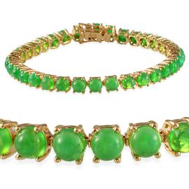 Green Ethiopian Opal (12.25 Ct) 14K Gold Overlay Sterling Silver Bracelet (Size 7.5)  12.250  Ct.