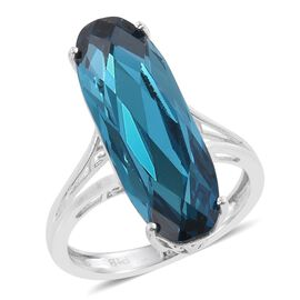 J Francis Crystal from Swarovski - Indicolite Colour Crystal Solitaire Ring in ION Plated Plitum Bond