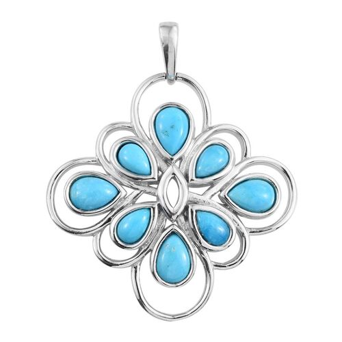 Arizona Sleeping Beauty Turquoise (Pear) Pendant in Platinum Overlay Sterling Silver 2.500 Ct.