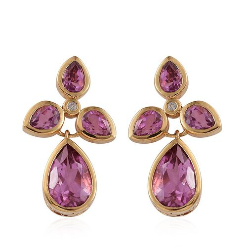 Kunzite Colour Quartz (Pear), White Topaz Earrings in 14K Gold Overlay Sterling Silver 16.600 Ct.