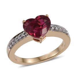 ILIANA 18K Y Gold AAAA Ouro Fino Rubelite (Hrt 2.50 Ct), Diamond (SI/G-H) Ring 2.650 Ct.