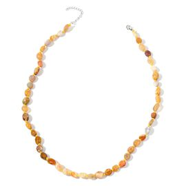 Fossil Coral Necklace (Size 18 with 2 inch Extender) in Rhodium Plated Sterling Silver 110.500 Ct.