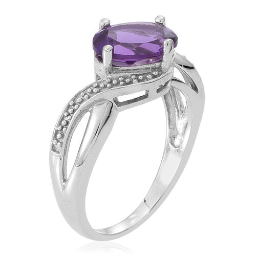 Amethyst (Ovl) Solitaire Ring in Rhodium Plated Sterling Silver 1.750 Ct.