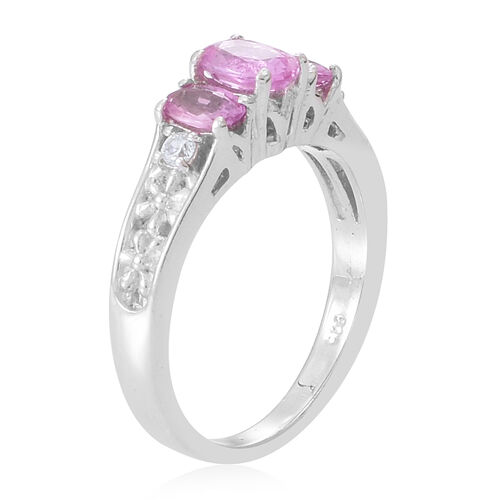 AA Pink Sapphire (Ovl 1.10 Ct), White Zircon Ring in Rhodium Plated Sterling Silver 1.250 Ct.