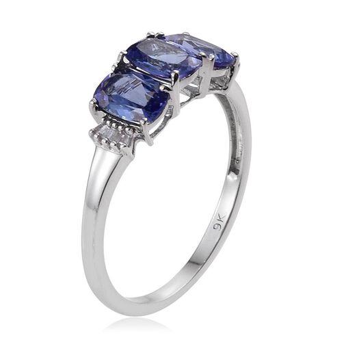 9K W Gold Tanzanite (Cush), Diamond Ring 2.250 Ct.