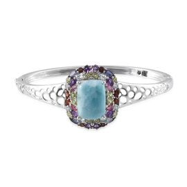 GP Larimar (Cush 15.00 Ct), Amethyst, Mozambique Garnet, Iolite, Sky Blue Topaz, Hebei Peridot, Mahenge Pink Spinel and Multi Gem Stone Bangle (Size 7.5) in Platinum Overlay Sterling Silver 21.250 Ct.
