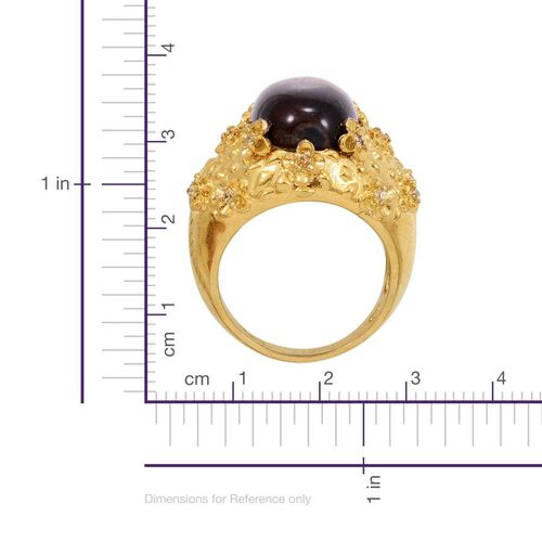 Tigers Eye (Ovl 9.75 Ct), Simulated Yellow Sapphire Ring in ION Plated 18K YG Bond 10.000 Ct.