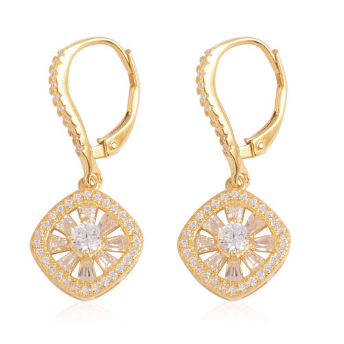 JCK Vegas Collection AAA Simulated Diamond (Rnd) Lever Back Earrings in 14K Gold Overlay Sterling Silver