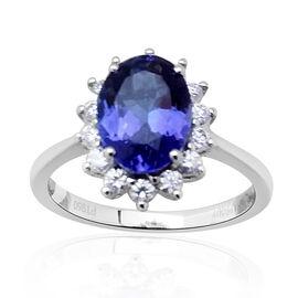 RHAPSODY 950 Platinum AAAA Tanzanite (Ovl 2.40 Ct), Diamond Ring 2.850 Ct.